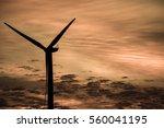 sunset showing wind turbine...   Shutterstock . vector #560041195