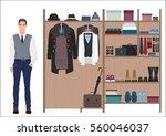 stylish man and man s wardrobe. ... | Shutterstock .eps vector #560046037