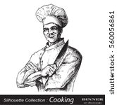 chef posing with crossed arms... | Shutterstock .eps vector #560056861