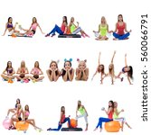 set collection of sporty women... | Shutterstock . vector #560066791