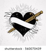 heart and knife symbol of love... | Shutterstock .eps vector #560070439