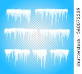 vector icicle and snow elements ... | Shutterstock .eps vector #560072239