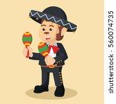 monkey mariachi playing maracas | Shutterstock .eps vector #560074735