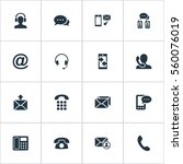 set of 16 simple contact icons. ... | Shutterstock .eps vector #560076019
