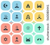 set of 16 simple religion icons.... | Shutterstock . vector #560080441