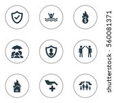 set of 9 simple warrant icons.... | Shutterstock . vector #560081371