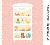 toys shelf with teddy bear ... | Shutterstock .eps vector #560083489