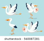 Cartoon Cute Stork Carrying...