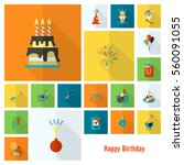 happy birthday icons set.... | Shutterstock .eps vector #560091055