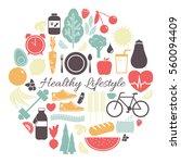 healthy lifestyle   vector... | Shutterstock .eps vector #560094409