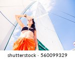 Young Woman On Sailboat