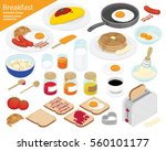 breakfast and kitchen equipment ... | Shutterstock .eps vector #560101177