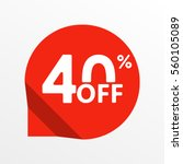 sale tag icon. 40 percent off.... | Shutterstock . vector #560105089