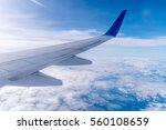 Wing Of An Airplane Cruising...