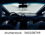 driving a car on winter road....   Shutterstock . vector #560108749