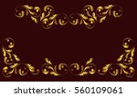 gold frame and borders. floral... | Shutterstock .eps vector #560109061