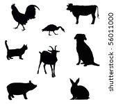 Stock photo collection of farm animal silhouettes isolated on white 56011000