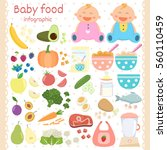 baby food icons set. infant... | Shutterstock .eps vector #560110459