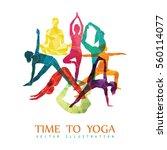 yoga fitness concept. vector... | Shutterstock .eps vector #560114077