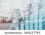 double exposure of city  graph  ... | Shutterstock . vector #560117791