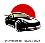 car on a background of red... | Shutterstock .eps vector #560131525