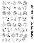 set of flower doodles | Shutterstock .eps vector #560132005