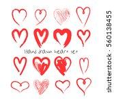 hand drawn hearts set.... | Shutterstock .eps vector #560138455
