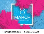 Stock vector pink march floral greeting card happy women s day paper cut flower holiday background with 560139625