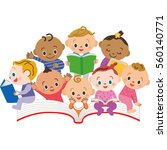 the baby who loves books | Shutterstock .eps vector #560140771