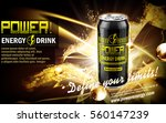energy drink contained in black can, with golden sparkle element, black background, 3d illustration | Shutterstock vector #560147239