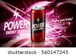 energy drink contained in red can, with current element surrounds, pink background, 3d illustration | Shutterstock vector #560147245