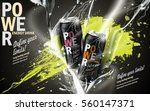 energy drink contained in two kinds of metal cans with refreshing breath elements and spilled paints, gray background | Shutterstock vector #560147371