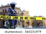 police officer on duty standing ... | Shutterstock . vector #560151979