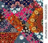 beautiful patchwork pattern... | Shutterstock .eps vector #560165281