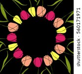 round frame with tulips | Shutterstock .eps vector #560171971