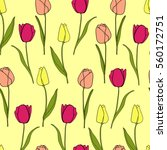 seamless pattern with tulips | Shutterstock .eps vector #560172751
