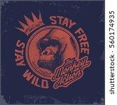 gorilla head hand drawn vector... | Shutterstock .eps vector #560174935
