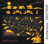 set on money. flying gold coins.... | Shutterstock .eps vector #560179039