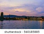 rambla de mar port vell at... | Shutterstock . vector #560185885