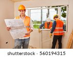 window fitter team with... | Shutterstock . vector #560194315