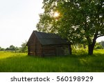 Old Wooden Shed With A Wooden...