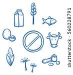 set of different food allergy... | Shutterstock .eps vector #560228791