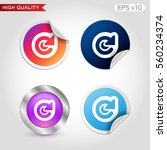 colored icon or button of...
