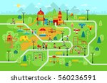 children playground in the park ... | Shutterstock .eps vector #560236591