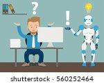 businessman cartoon with robot... | Shutterstock .eps vector #560252464