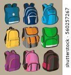 colored school backpacks set | Shutterstock .eps vector #560257267