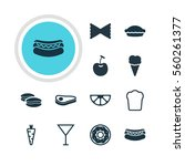 illustration of 12 food icons.... | Shutterstock . vector #560261377