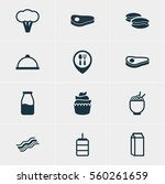 illustration of 12 meal icons.... | Shutterstock . vector #560261659