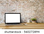 mock up of blank laptop on the... | Shutterstock . vector #560272894