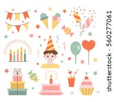 set of birthday.  flat  style.  ... | Shutterstock .eps vector #560277061